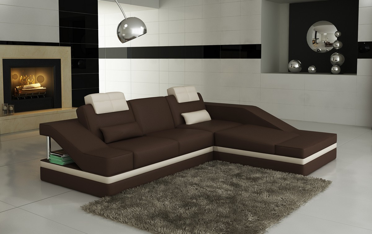 Divani Casa 5039B Modern Brown and White Bonded Leather ...