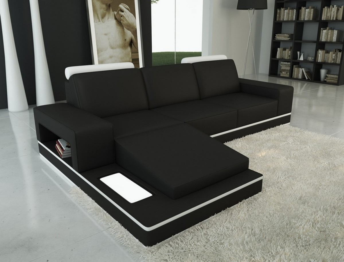 Divani Casa 5075b Black And White Bonded Leather Sectional Sofa