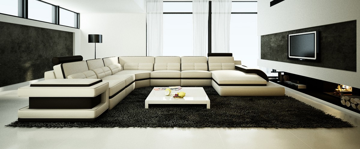 Divani Casa 6122 Modern White And Black Bonded Leather