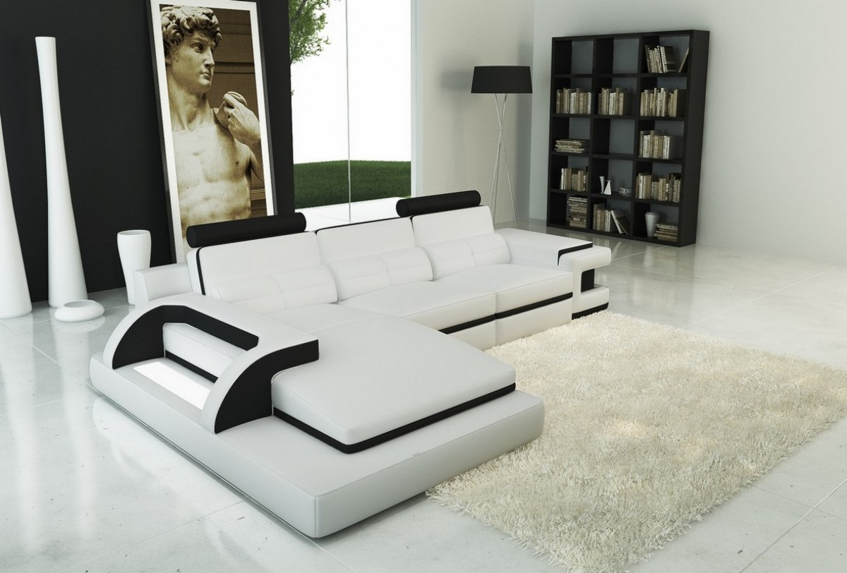 Divani Casa 6122b Modern White And Black Bonded Leather