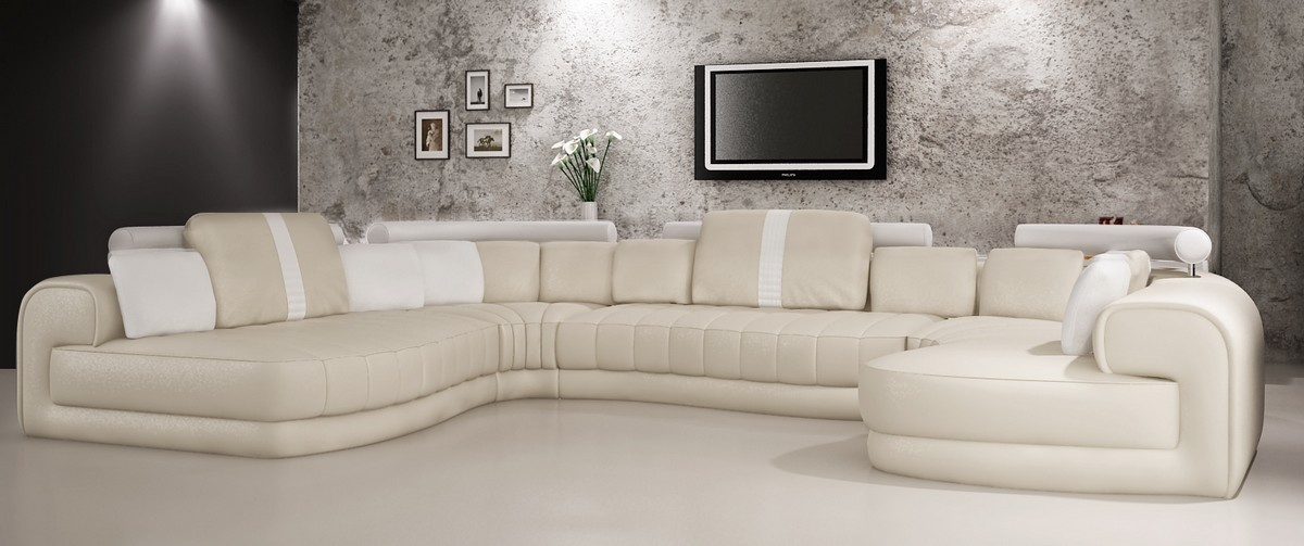 Divani Casa 6129 Modern Cream And White Bonded Leather Sectional Sofa