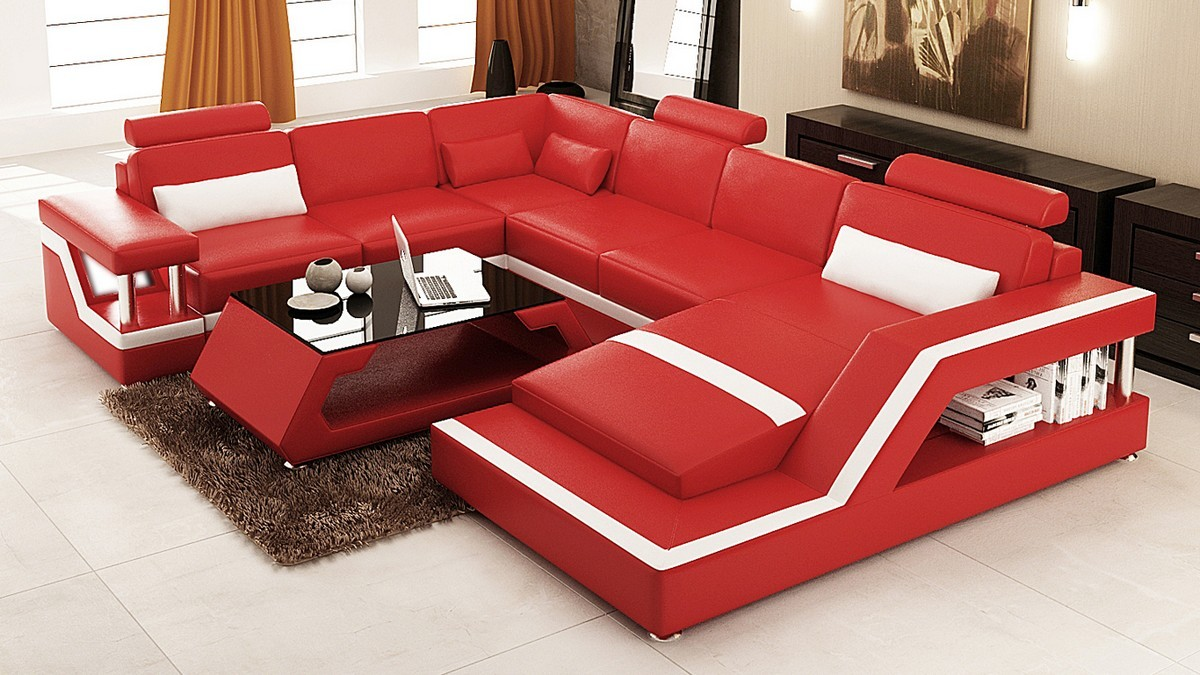 Charmant Divani Casa 6139 Modern Red And White Bonded Leather Sectional Sofa