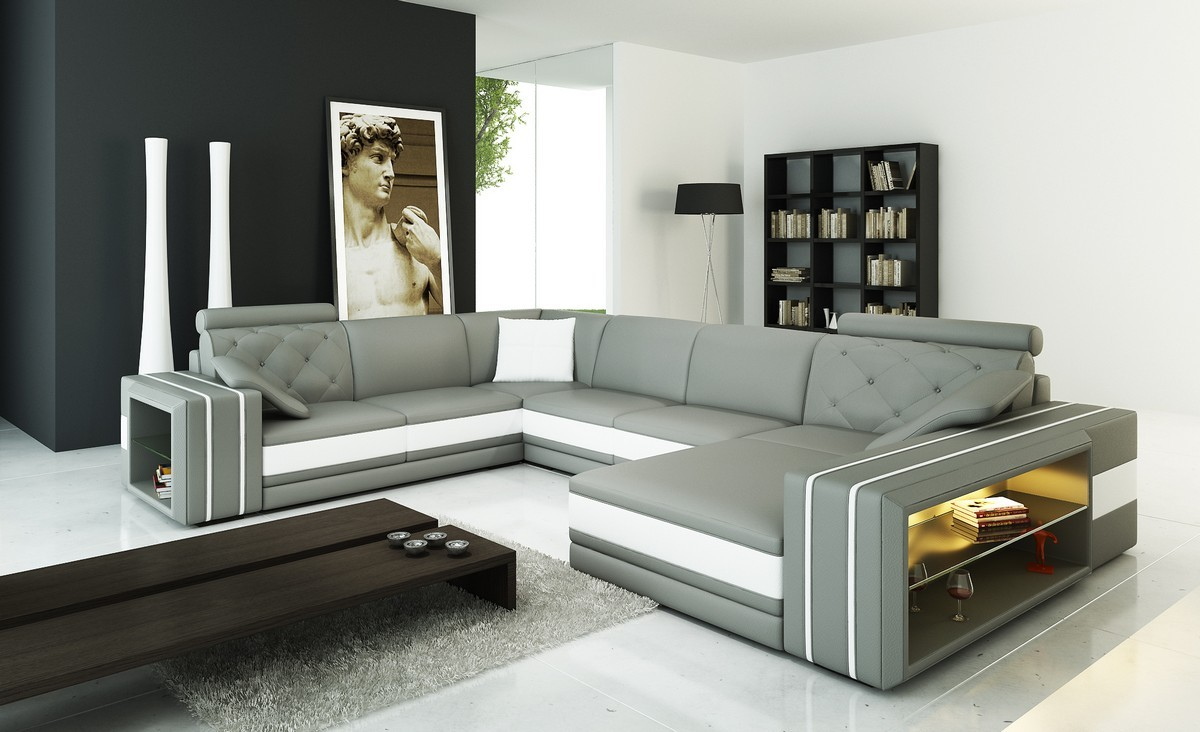 Divani Casa 6142 Modern Grey And White Bonded Leather