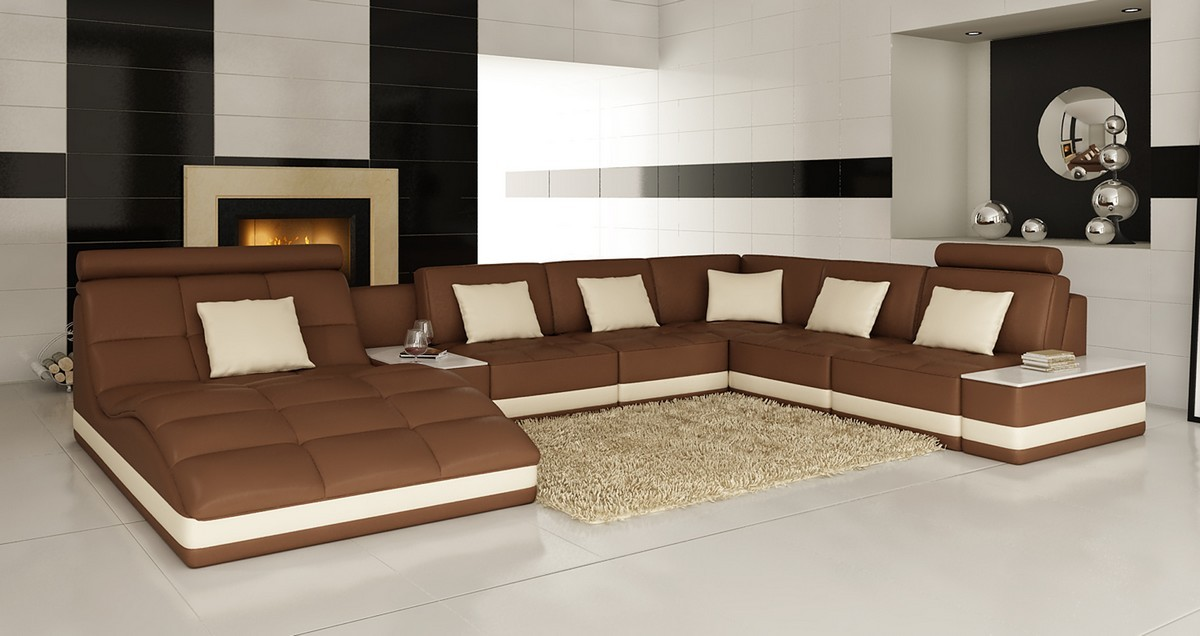 Brown Leather Sofa With White Furniture