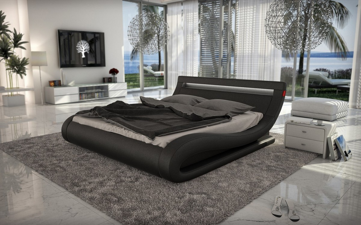 Modrest Corsica Contemporary Black Leatherette Bed With