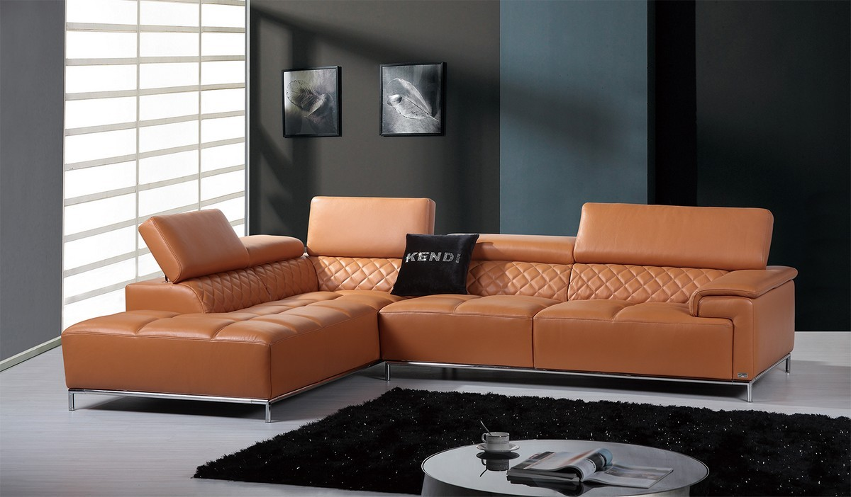 Great Divani Casa Citadel Modern Orange Italian Leather Sectional Sofa