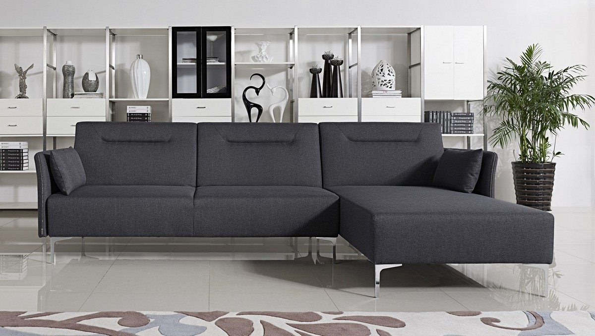Divani Casa Rixton Modern Grey Fabric Sofa Bed Sectional ...
