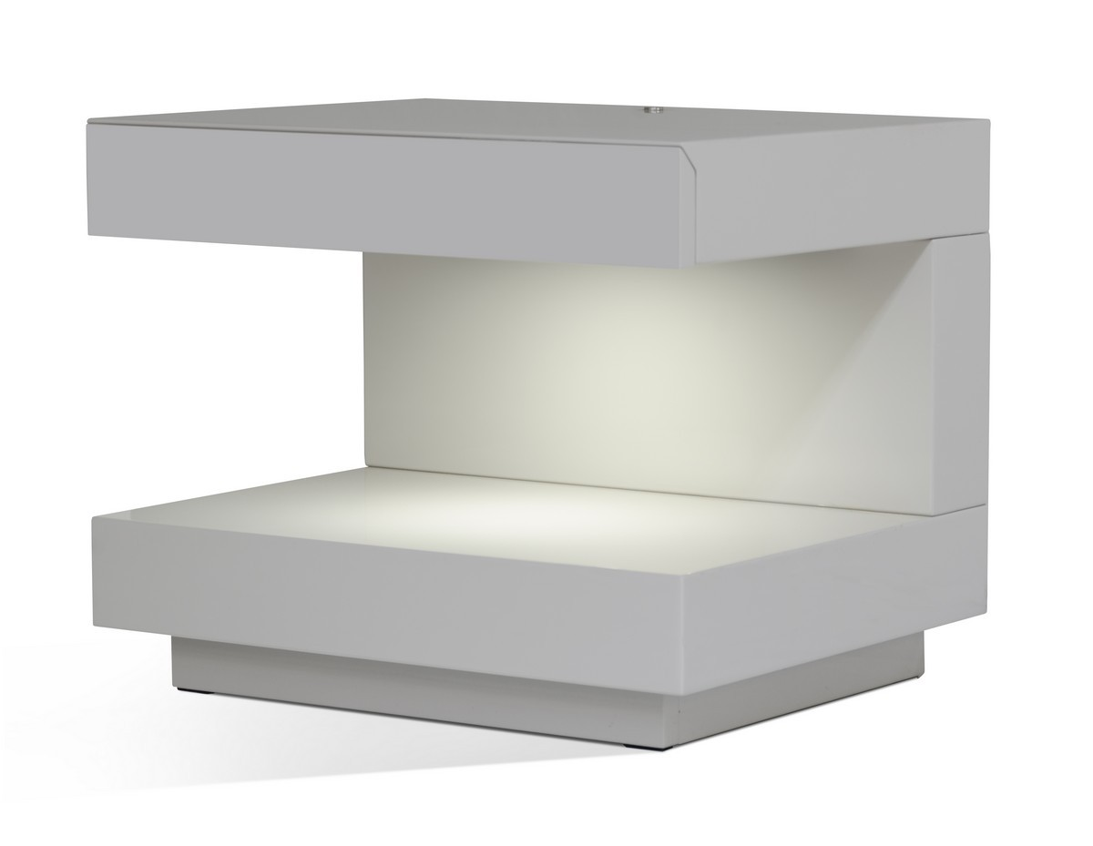 Lovely Modrest Esso Modern Grey Nightstand ...