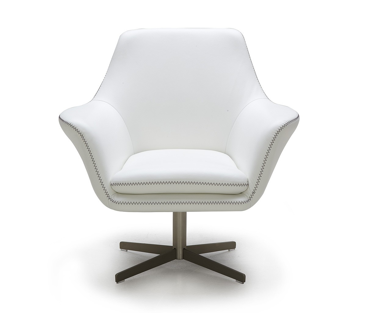 Divani casa poli modern leather swivel lounge chair