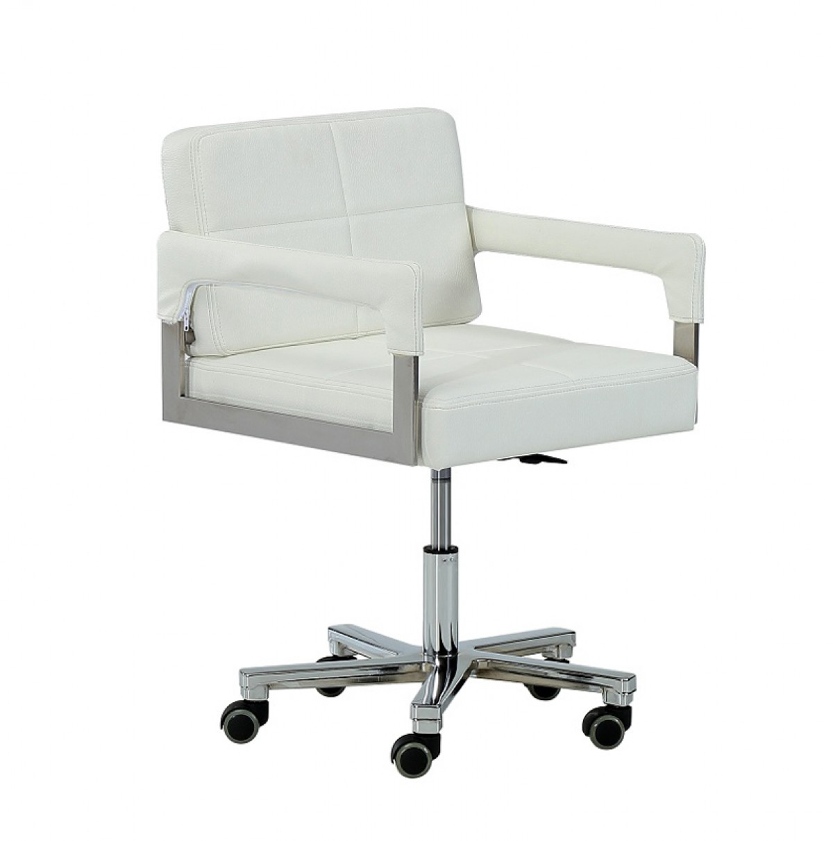 Modrest craig modern white bonded leather office chair for Modern leather office chairs