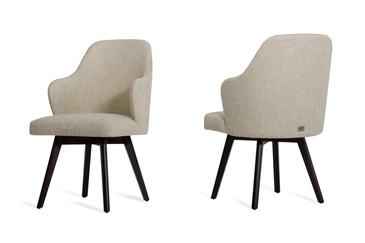 Caligari modern oak off white fabric dining chair set of 2 for White fabric dining chairs