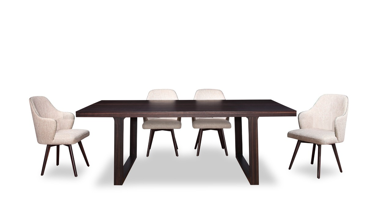 A x caligari modern oak dining table modern dining dining for Modern oak dining table