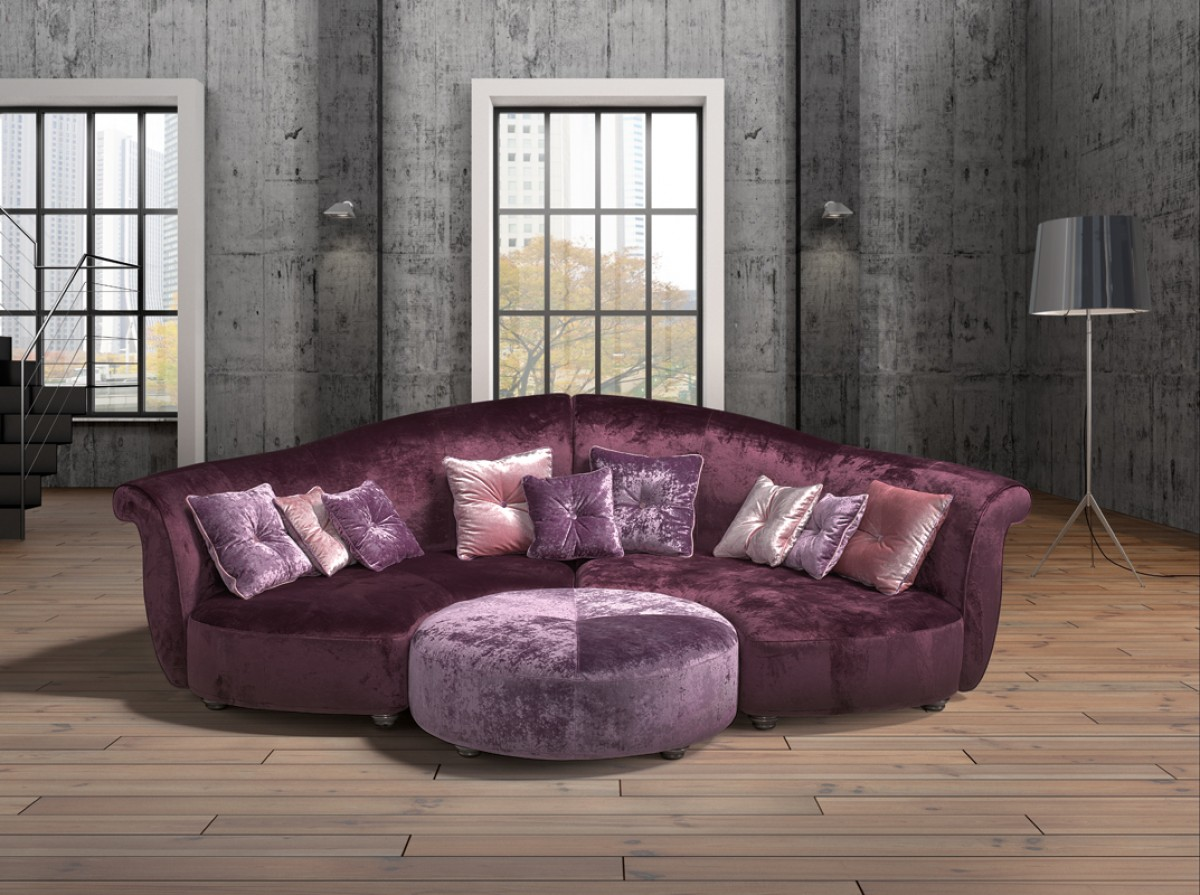 Estro Salotti Allegretto Modern Purple Fabric Sectional Sofa Estro Italian Seating Collections