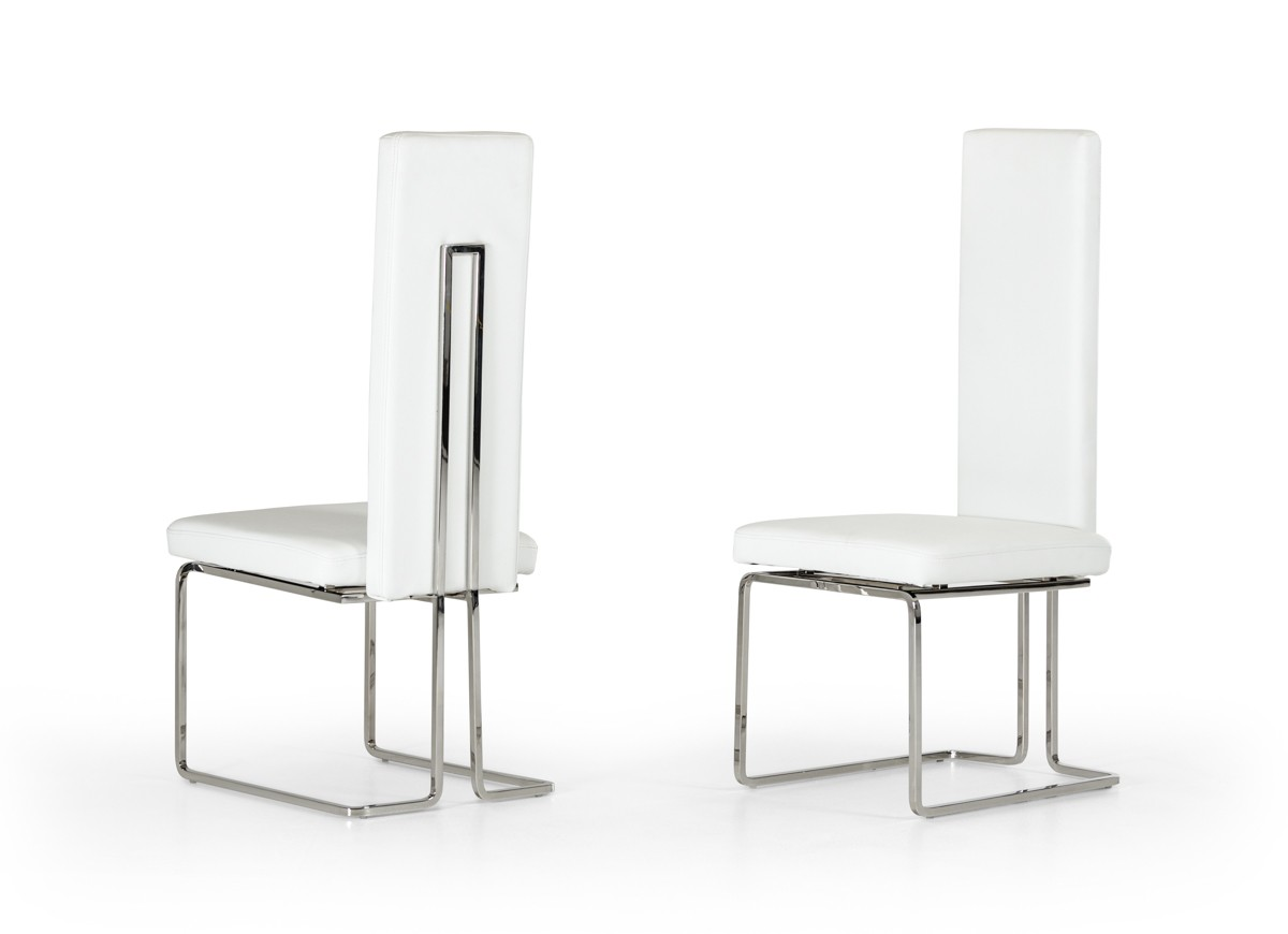 Arcadia modern white dining chair set of 2