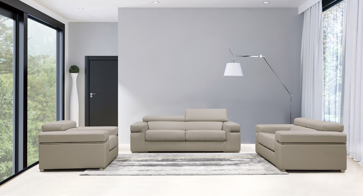 Fantastic Divani Casa Atlantis Modern Light Grey Bonded Leather Sofa Set Gamerscity Chair Design For Home Gamerscityorg