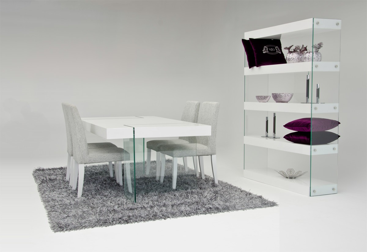 modern white dining table Modrest Aura   Modern White Floating Dining Table modern white dining table