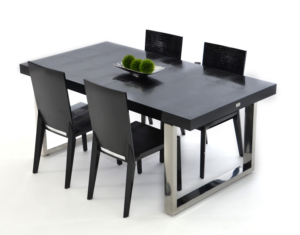 contemporary dining table a amp x skyline modern black crocodile lacquer extendable 13019