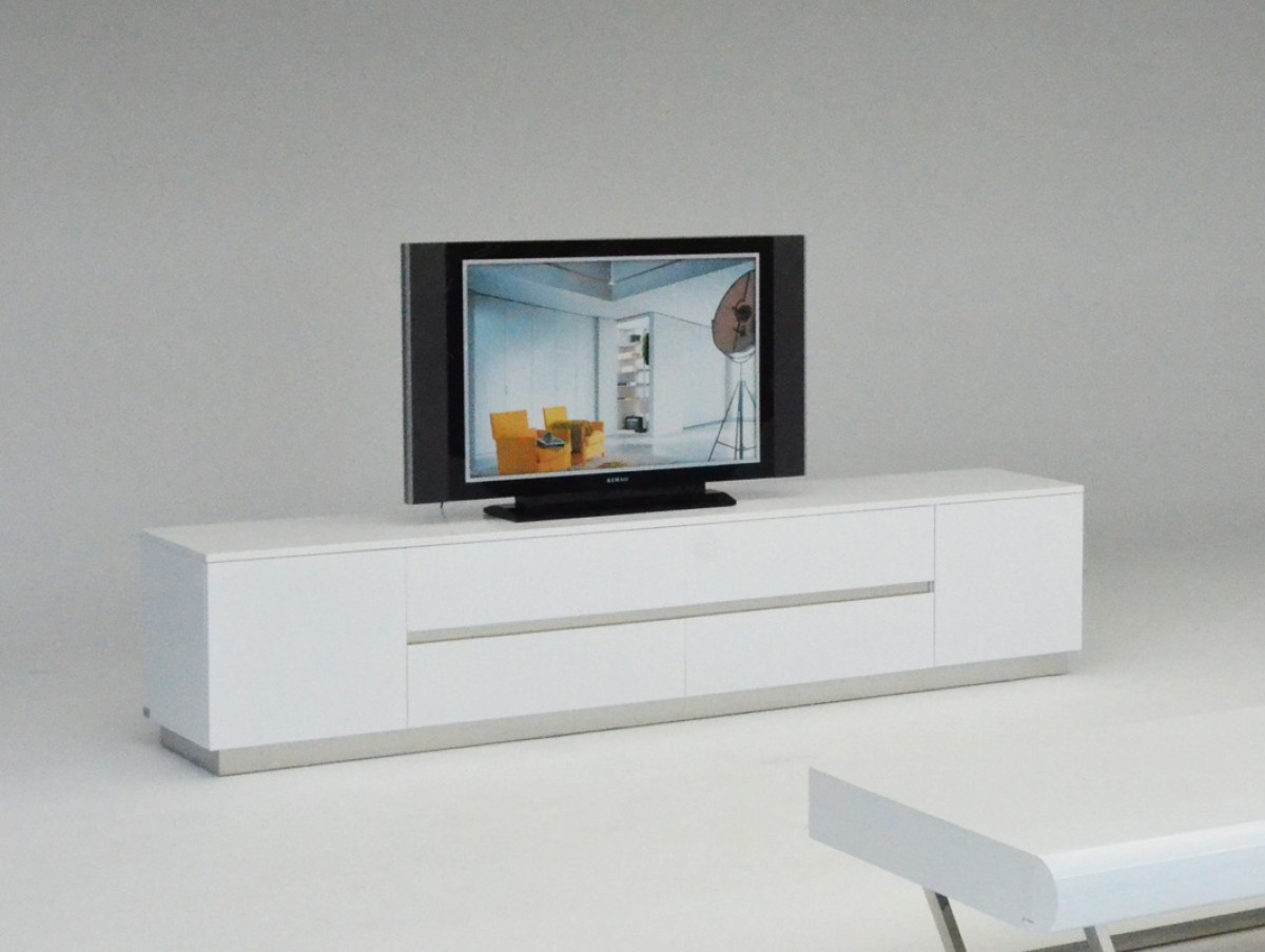 A x skyline modern white crocodile tv entertainment center for Center mobili outlet