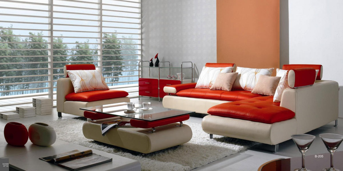 Divani Casa B205   Modern White U0026 Red Leather Sectional Sofa Set ...