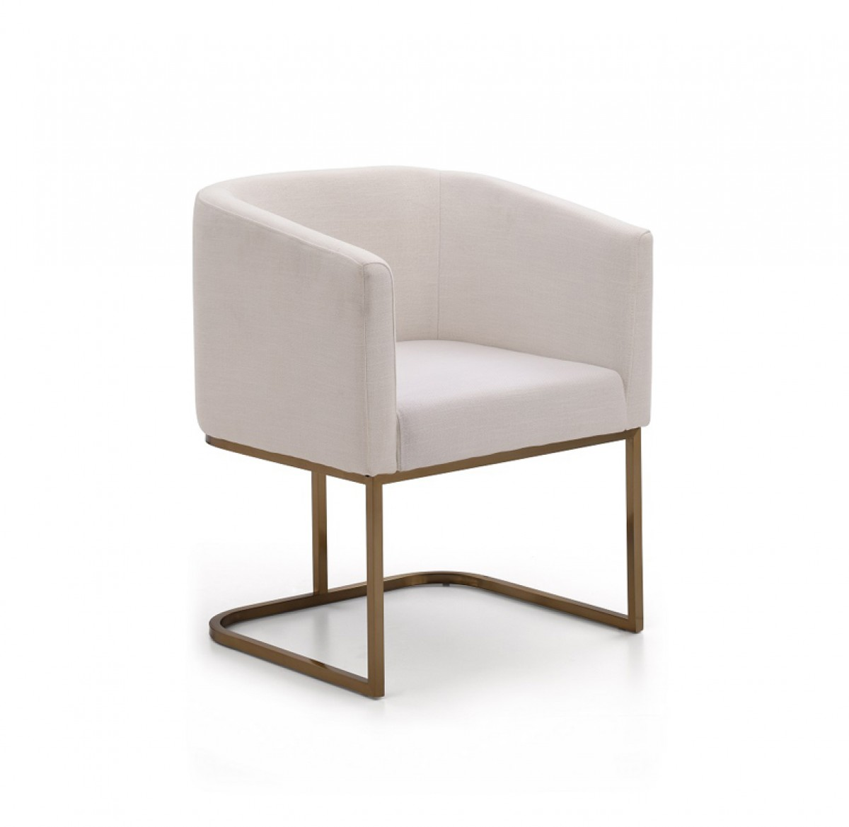 Modrest yukon modern white fabric and antique brass dining for Modern white dining room chairs