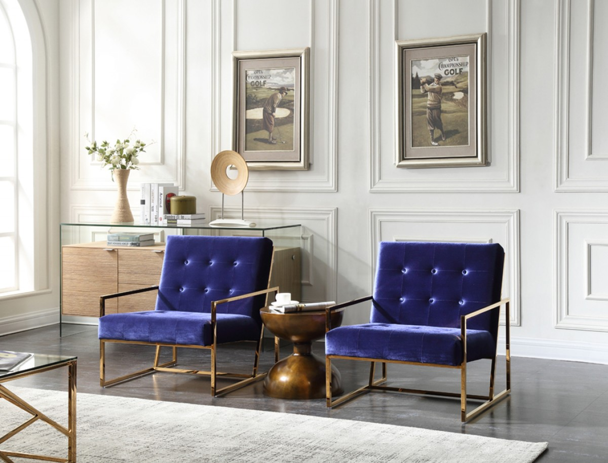 Modrest Samara Modern Blue Amp Gold Accent Chair