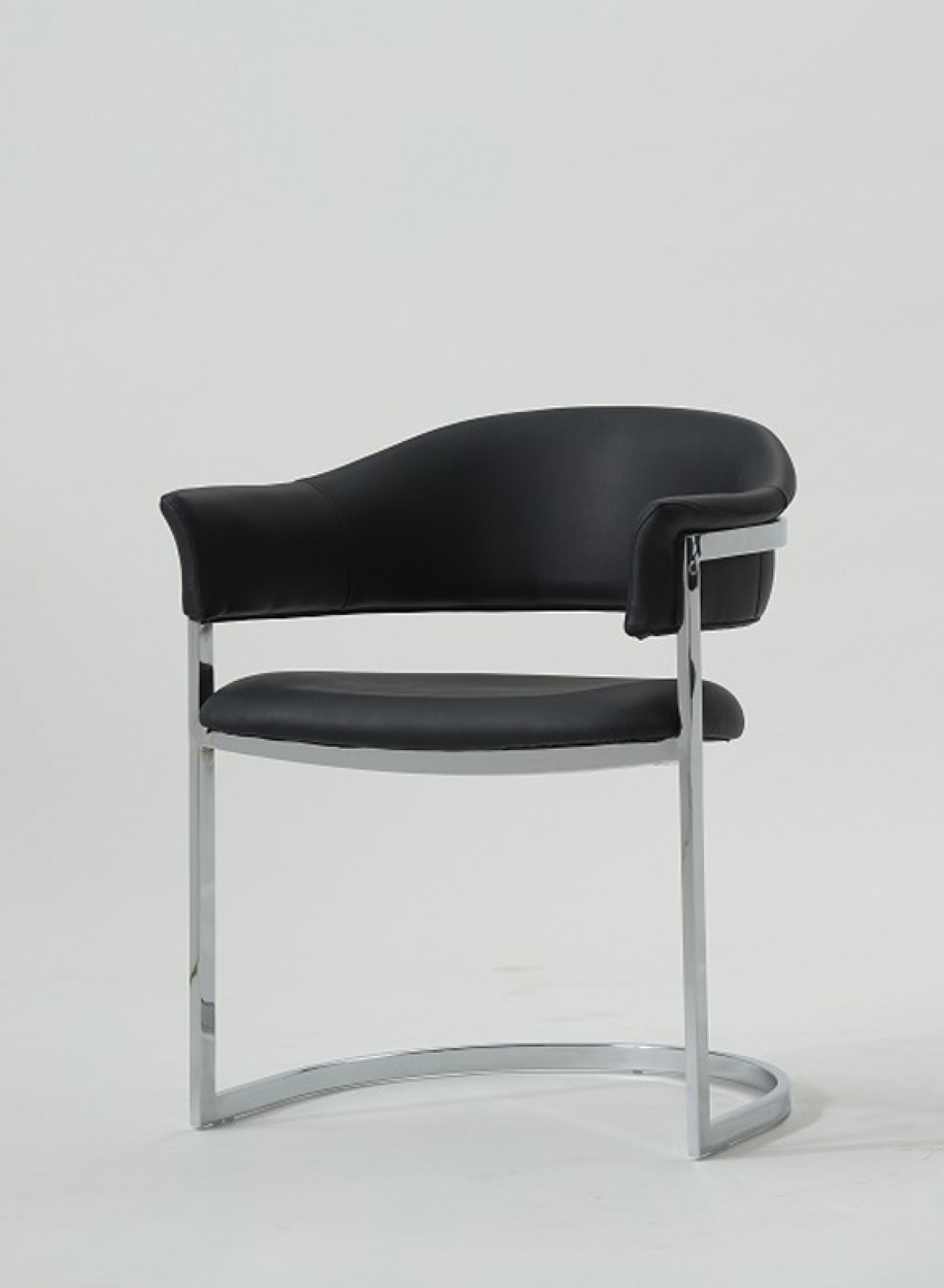 Modrest allie contemporary black leatherette dining chair for Contemporary white dining chairs