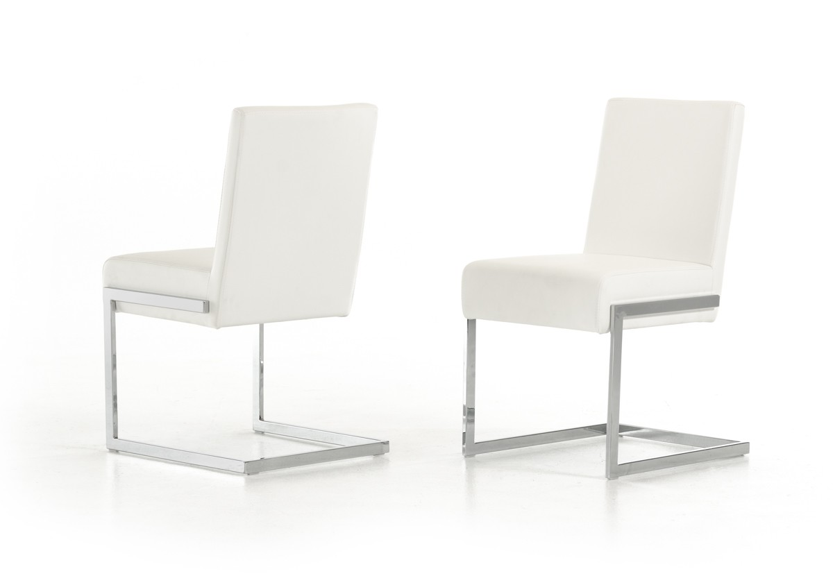 Batavia modern white leatherette dining chair set of 2 for Contemporary white dining chairs
