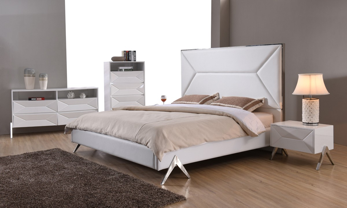 Modrest Candid Modern White Bedroom Set Bedroom Sets Bedroom