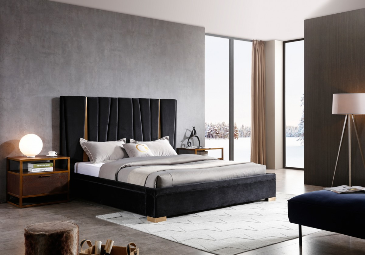 Modrest Evonda Modern Black Velvet & Brass Bed - Beds ...