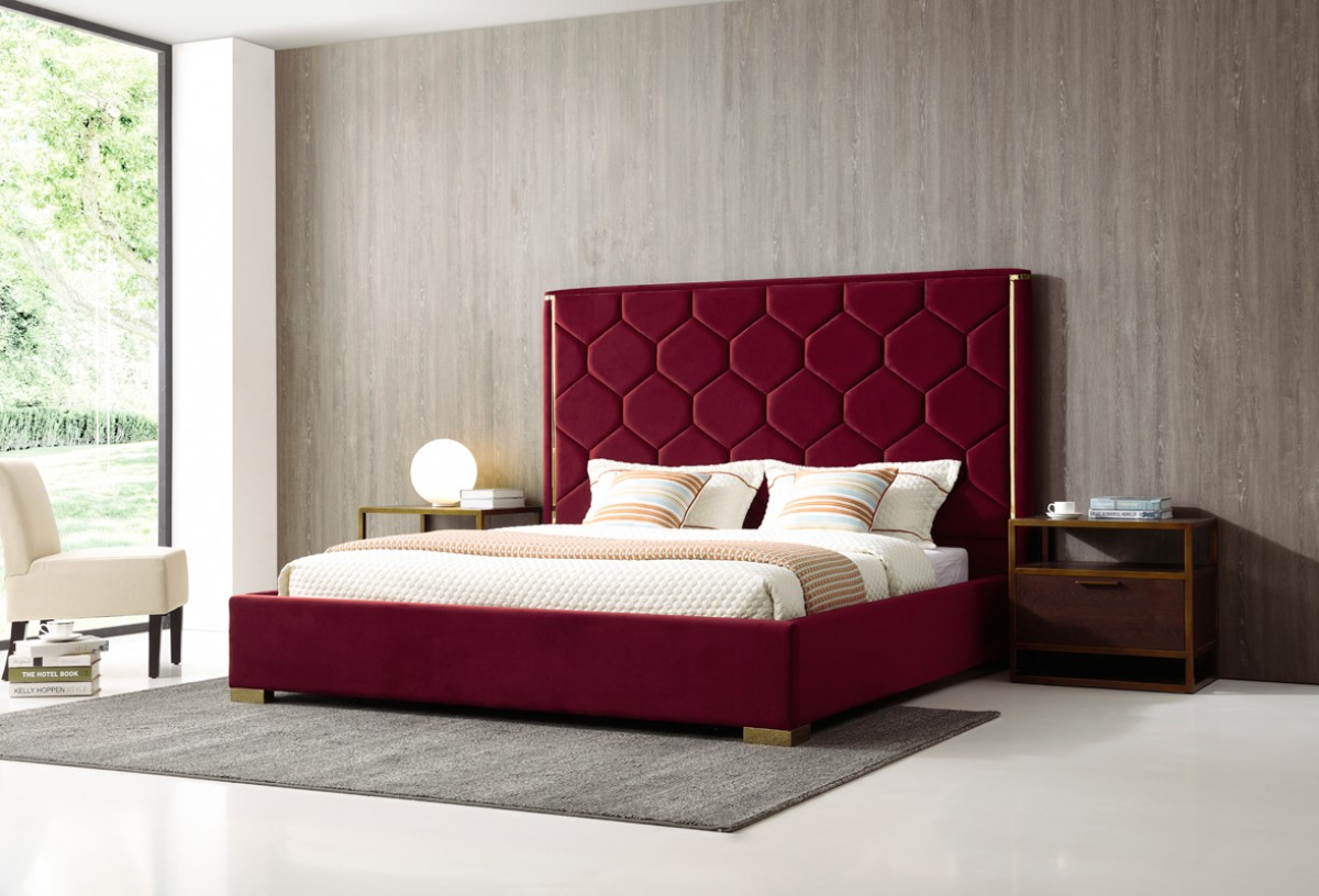 Modrest Janet Modern Red Velvet & Gold Bed - Beds - Bedroom