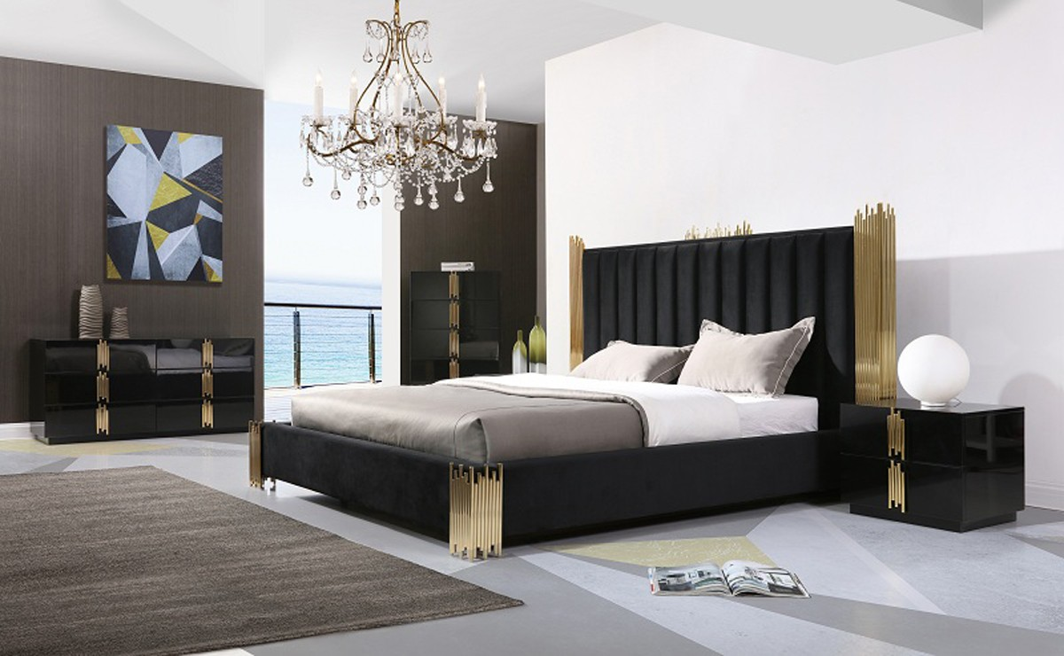 Black White Bedroom Furniture: Modrest Token Modern Black & Gold Bedroom Set