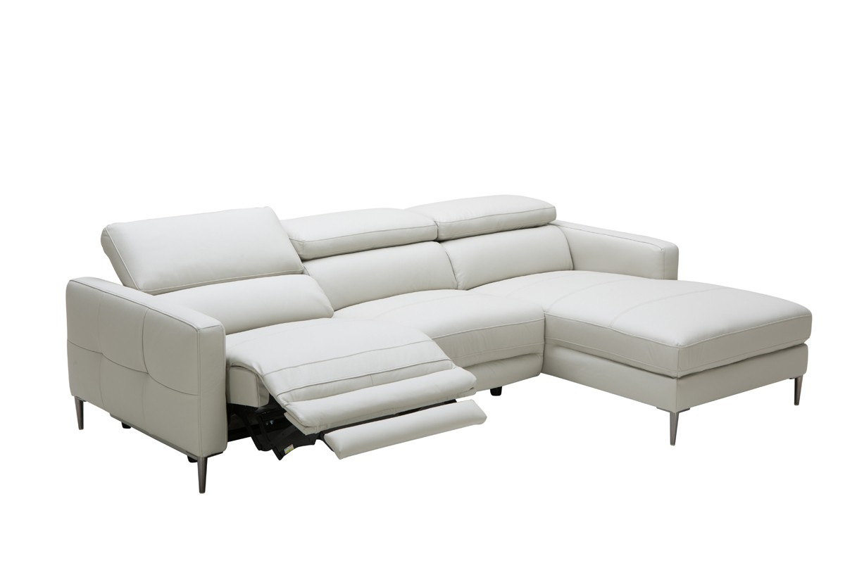 divani casa booth modern light grey leather sectional sofa w electric recliner - Leather Sectional Couch With Recliner