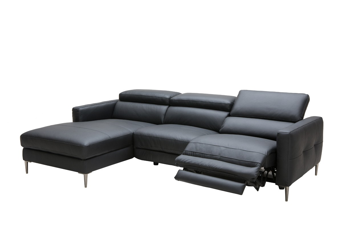 Divani Casa Booth Modern Black Leather Sectional W Electric Recliner