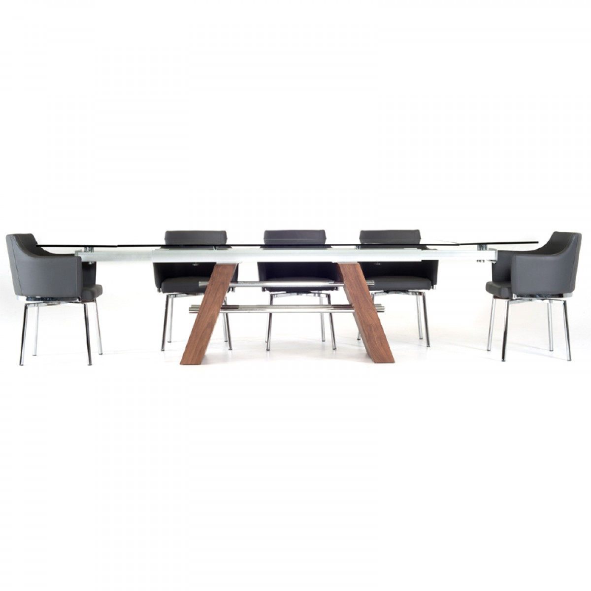 Contemporary Glass Walnut Extendable Dining Table Modern Dining