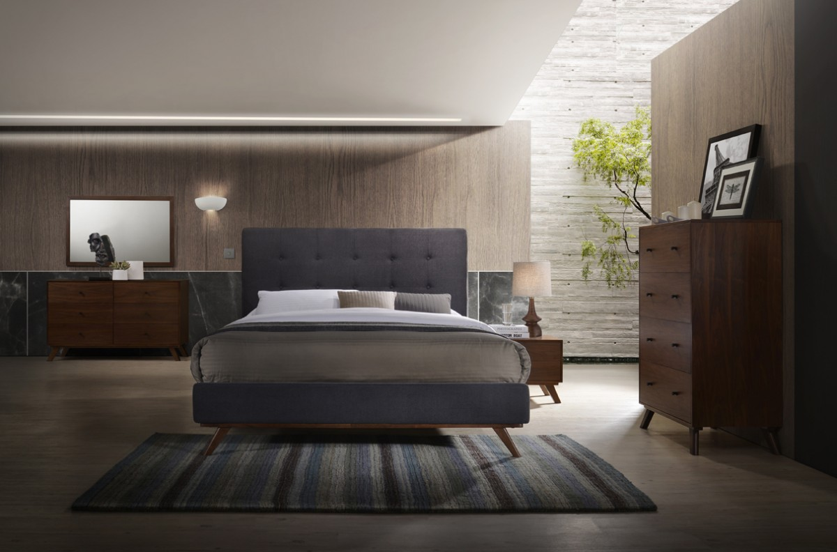 Modrest Addison Mid Century Modern Grey Amp Walnut Bedroom