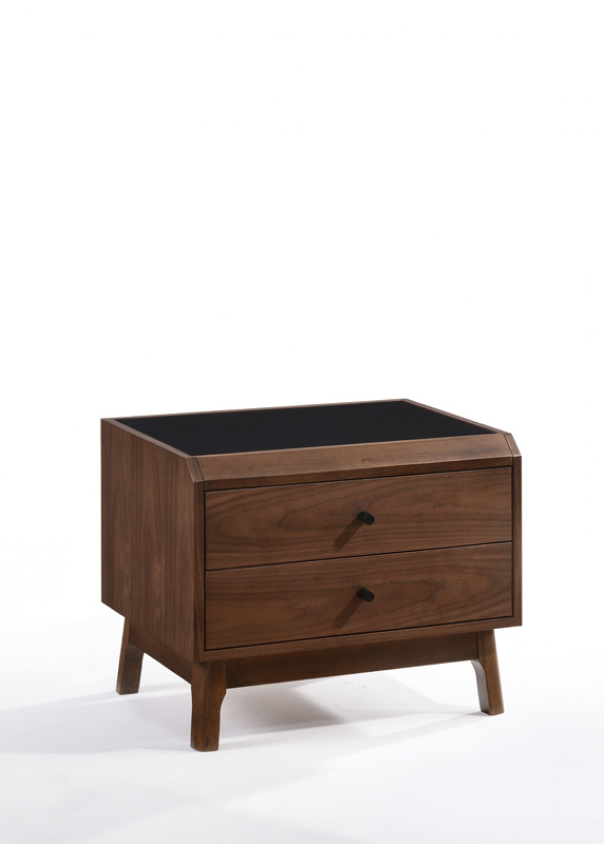 Superieur Modrest Gibson Modern Walnut U0026 Black Glass Nightstand ...