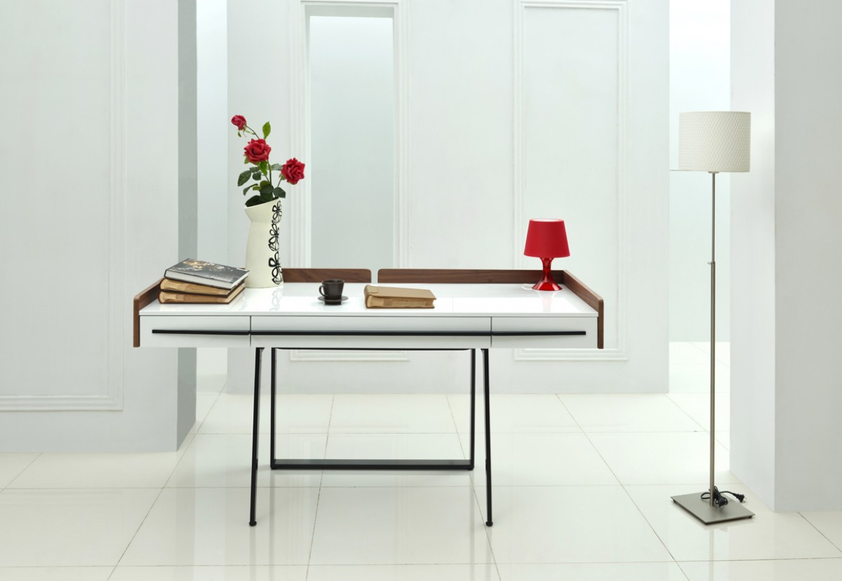 Modern Office Desk: Nova Domus Branton Contemporary White & Walnut Office Desk