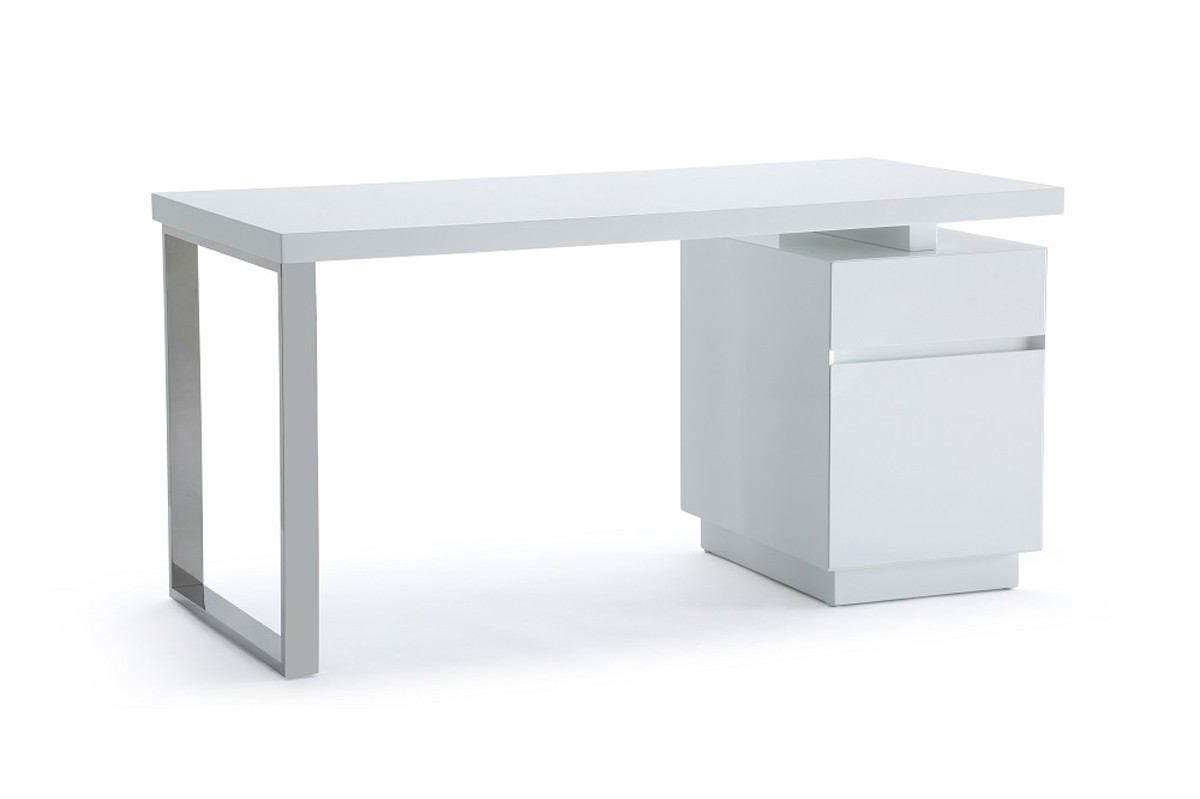 Modrest Carson Modern White & Stainless Steel Desk