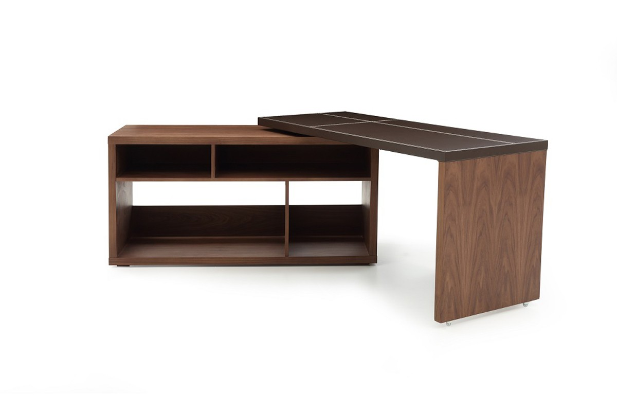 Modrest Sigma Modern Walnut & Brown Leather L-Shaped Desk