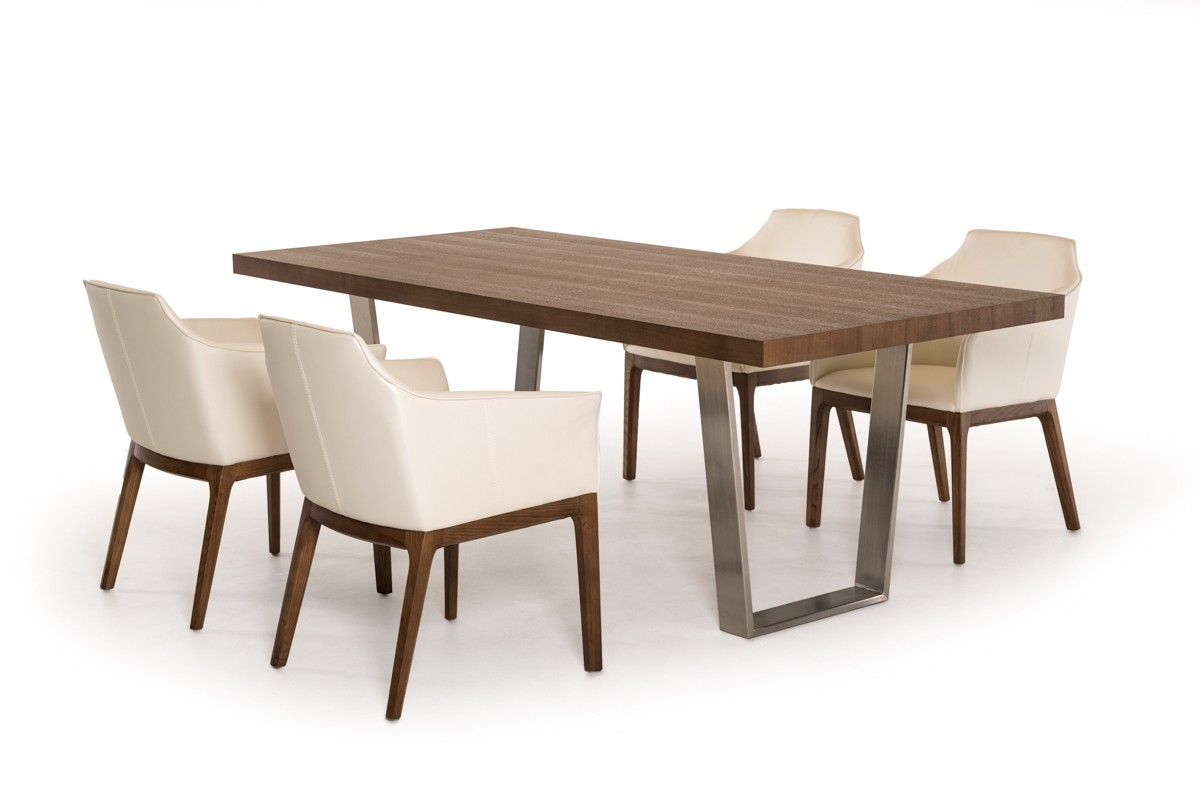 Modrest byron modern walnut stainless steel dining table for Top 10 dining tables