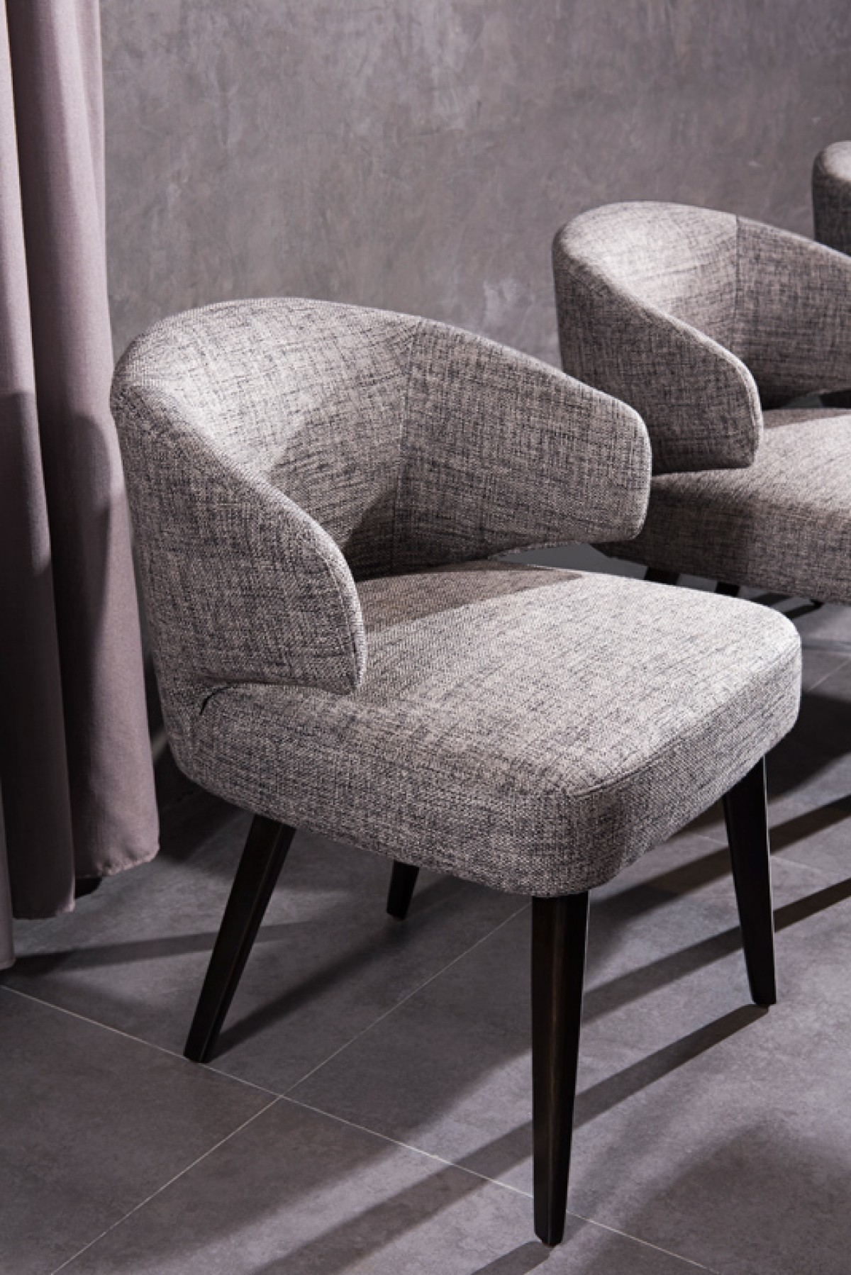 Modrest carlton modern grey fabric dining chair dining for Contemporary designer dining chairs