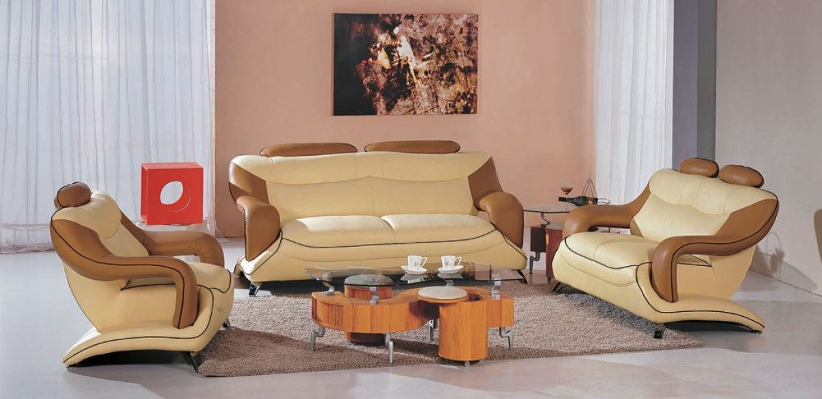 7055 Modern Beige And Brown Leather Living Room Set