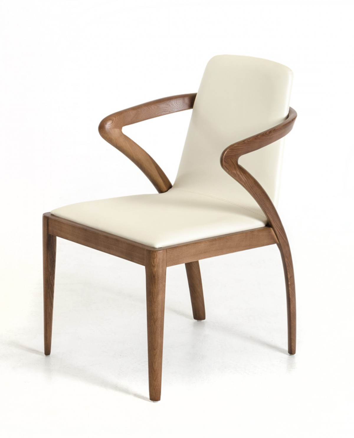 Modrest falcon modern walnut and cream dining chair for Contemporary designer dining chairs