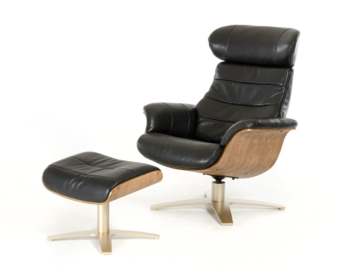 Divani casa charles modern black leather reclining chair w ottoman - Modern leather recliner that is totally comfortable ...