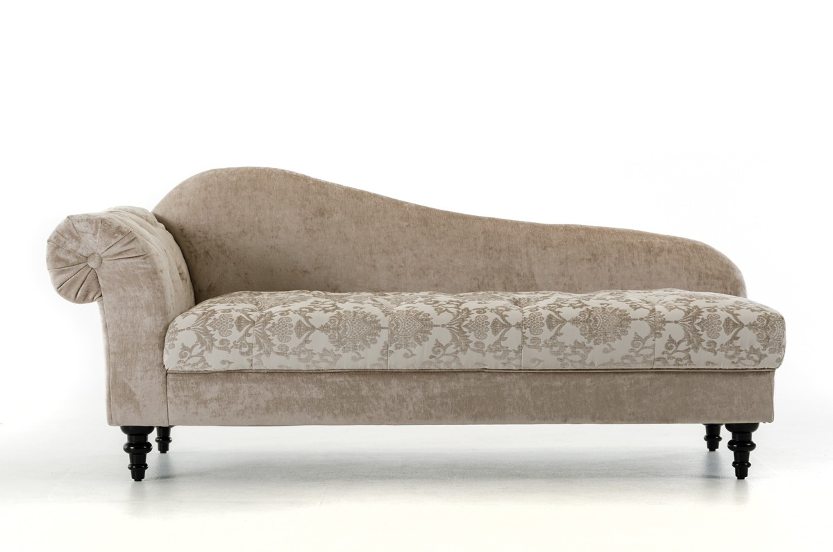Casa Metropolitan - Transitional Beige Fabric Chaise with Acrylic ...