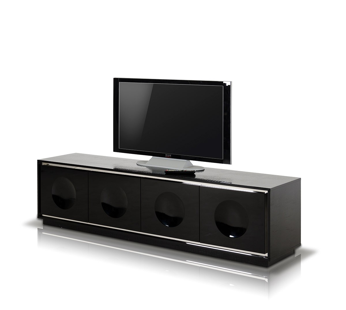 A Amp X Grand Modern Black Crocodile Lacquer Tv Stand