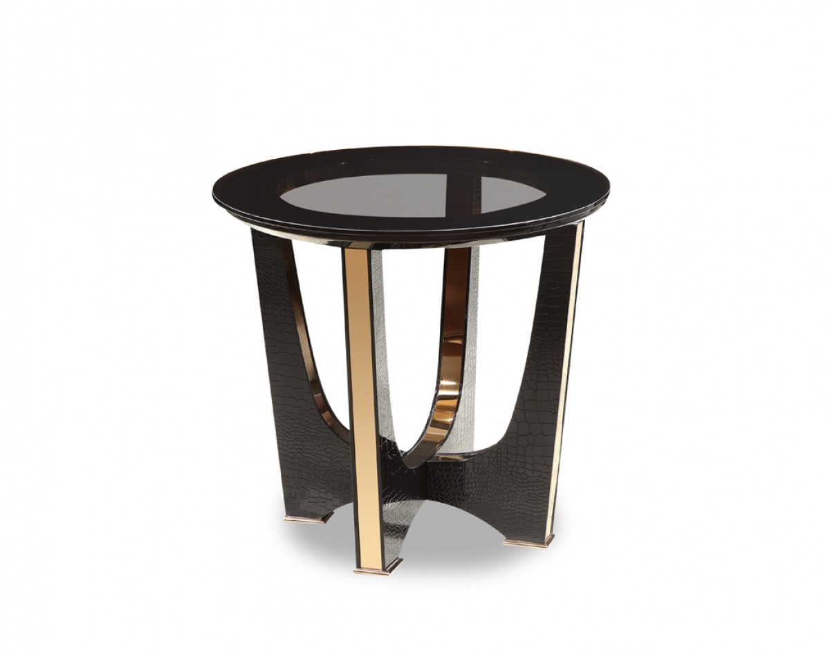 A&X Talin Modern Black Crocodile & Rosegold End Table - End Tables ...