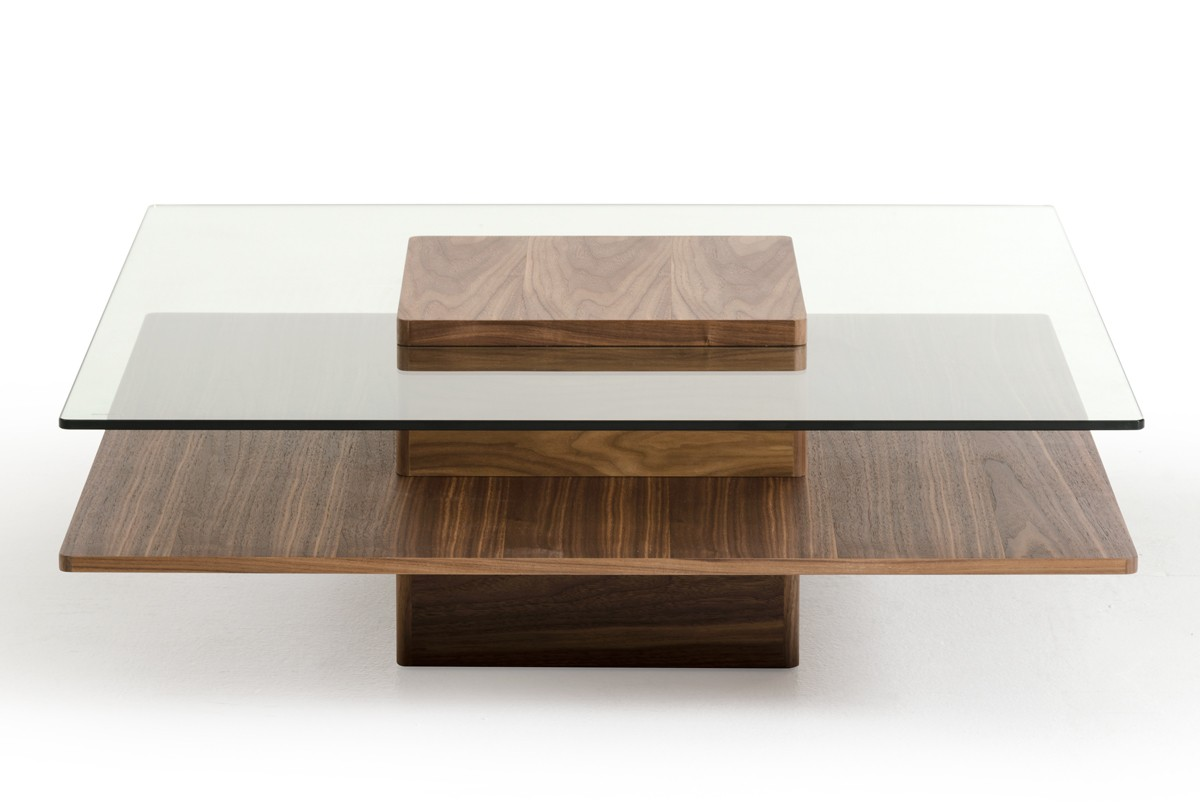 Modrest Clarion Modern Walnut And Glass Coffee Table Coffee Tables Living Room