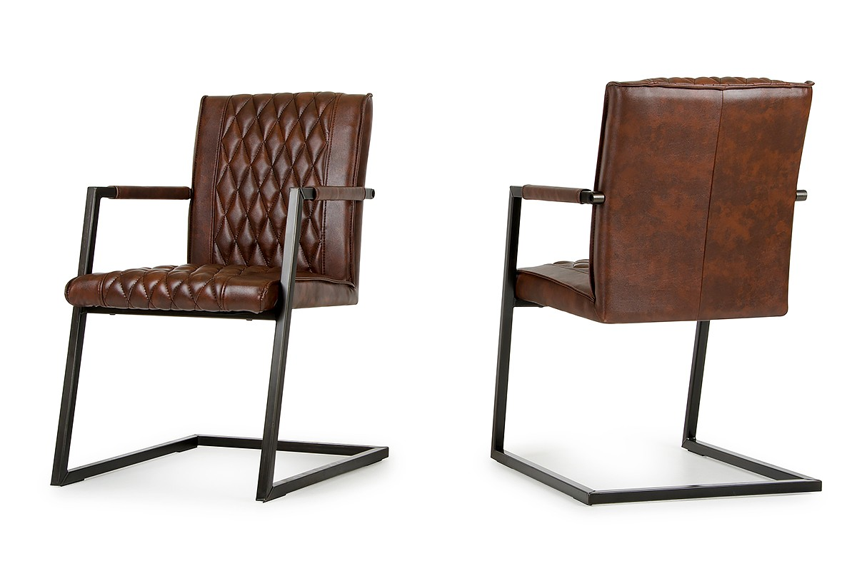 Lipan modern cognac dining arm chair set of