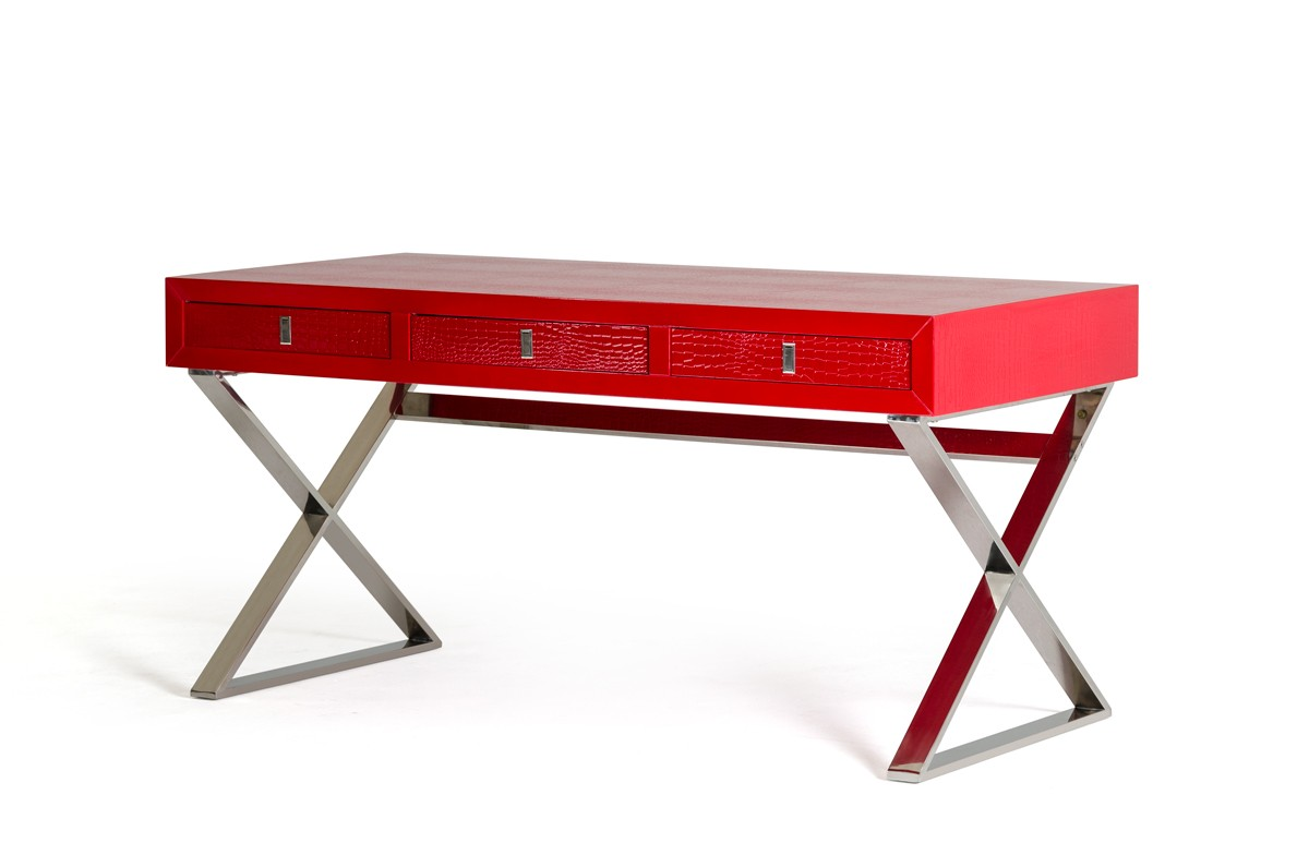 A Amp X Congress Transitional Red Crocodile Desk Office